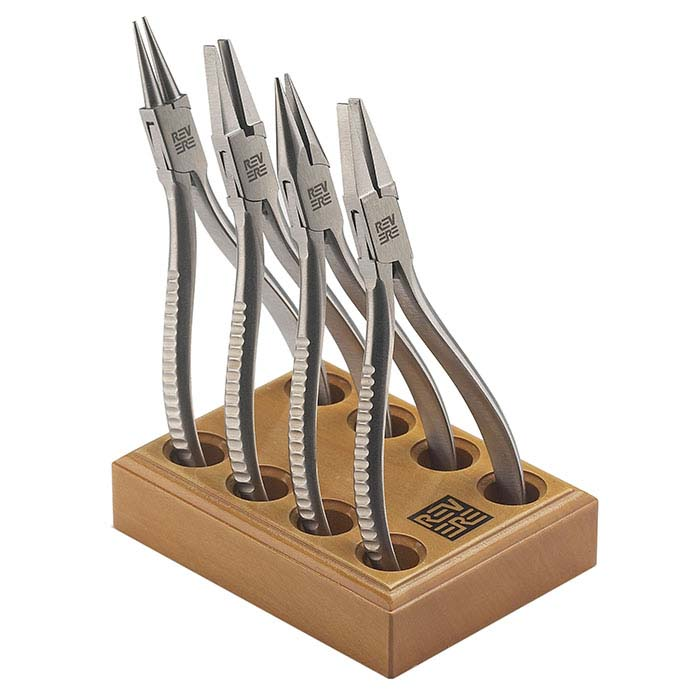 Revere 4-Piece Pliers Set with Wood Stand