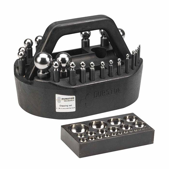 Durston Steel 21-Piece Dapping Punch Set with Block