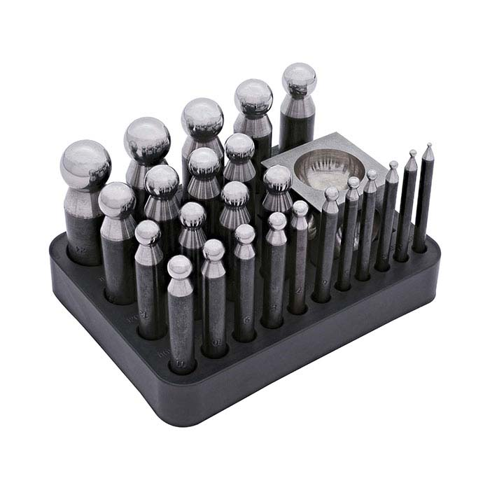Steel 24-Piece Dapping Punch Set With Cube