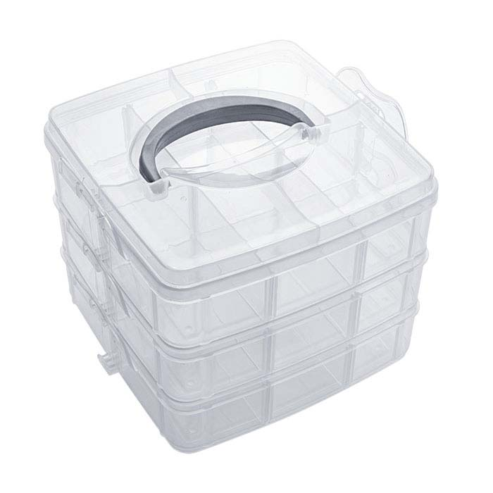 Plastic 18-Compartment Three-Level  Stacked Organizer Box