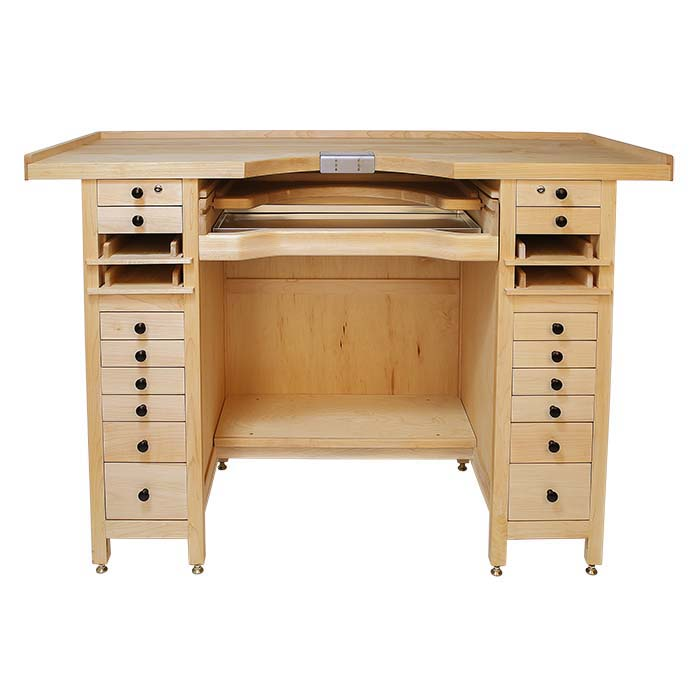 All-Maple Tall Extra-Wide 20-Drawer Workbench with Cut-Out Top