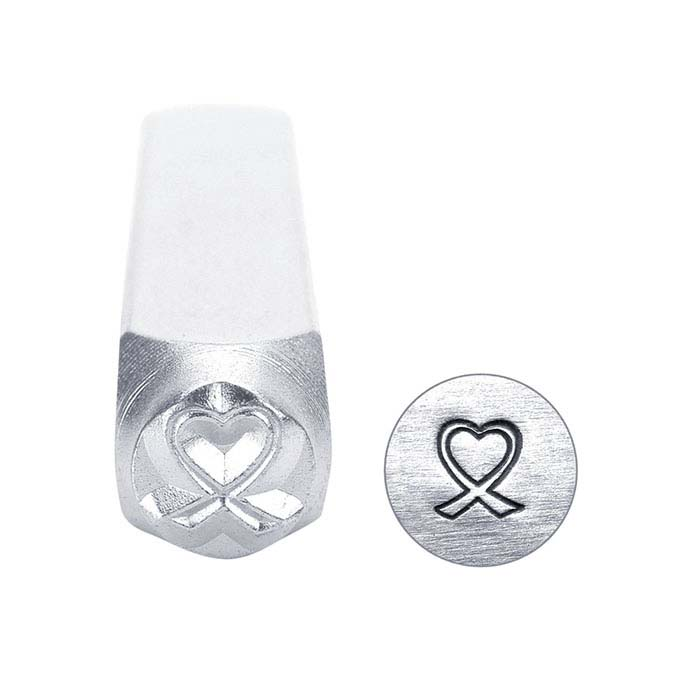 ImpressArt® Heart-Shaped Breast Cancer Ribbon Design Stamp, 6mm Character