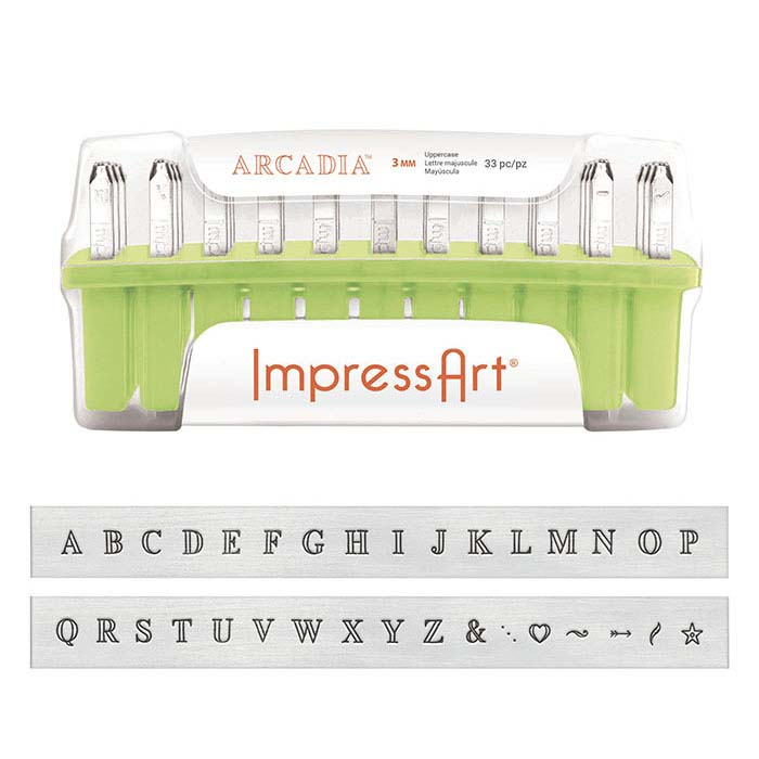 ImpressArt® Design Stamp Set, Uppercase Arcadia Alphabet, 3mm Characters