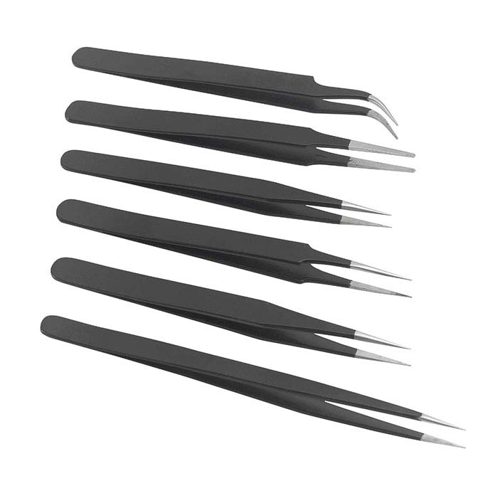 Matte Black Anti-Magnetic Pattern Tweezers, Set of 6