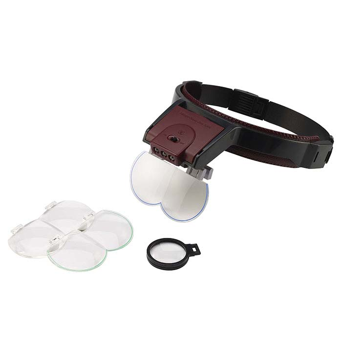 MegaView Pro Lighted Magnifier Headset with Three Lenses