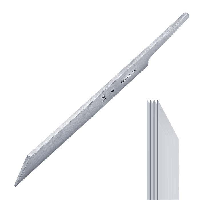 E.C. Muller Carbon Steel Straight Line Graver #14, 4-Line