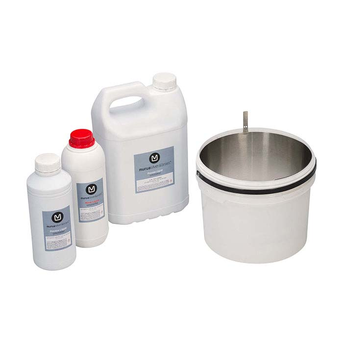 Silver and Brass Processing and Rinse Solutions Kit for Murua Electro-Finishing System