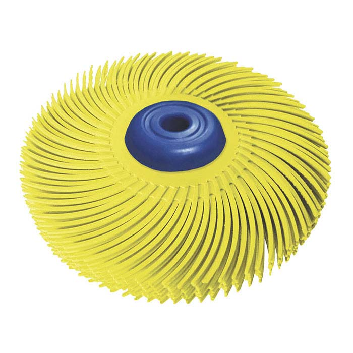 "Dedeco® Sunburst® 3"" 6-Ply Radial Bristle Disc, 80-Grit, Yellow"