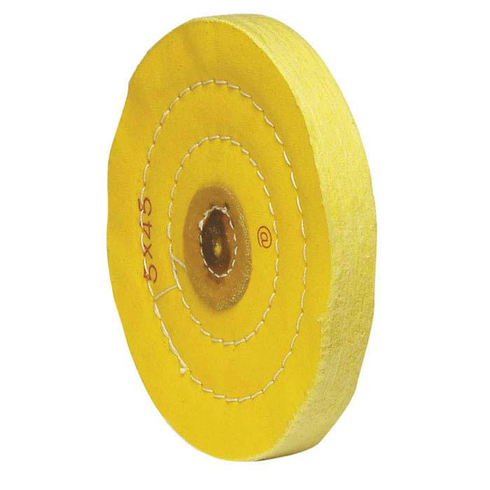 "Value Yellow-Treated Buffing Wheel, 5"" x 45-Ply"