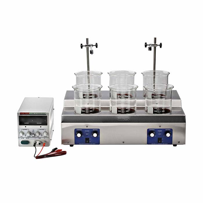 Midas Six-Station Plating System with 5-amp Rectifier, 1-Liter