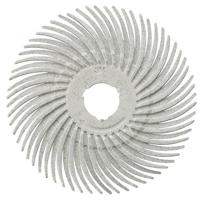 "3M 3"" Radial Bristle Disc, 120-Grit, White"
