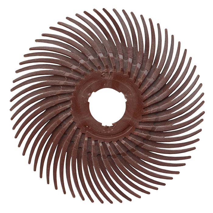 "3M 3"" Radial Bristle Disc, 220-Grit, Red"