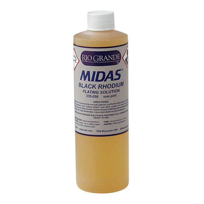 Midas Black Rhodium Plating Solution, Acid-Based