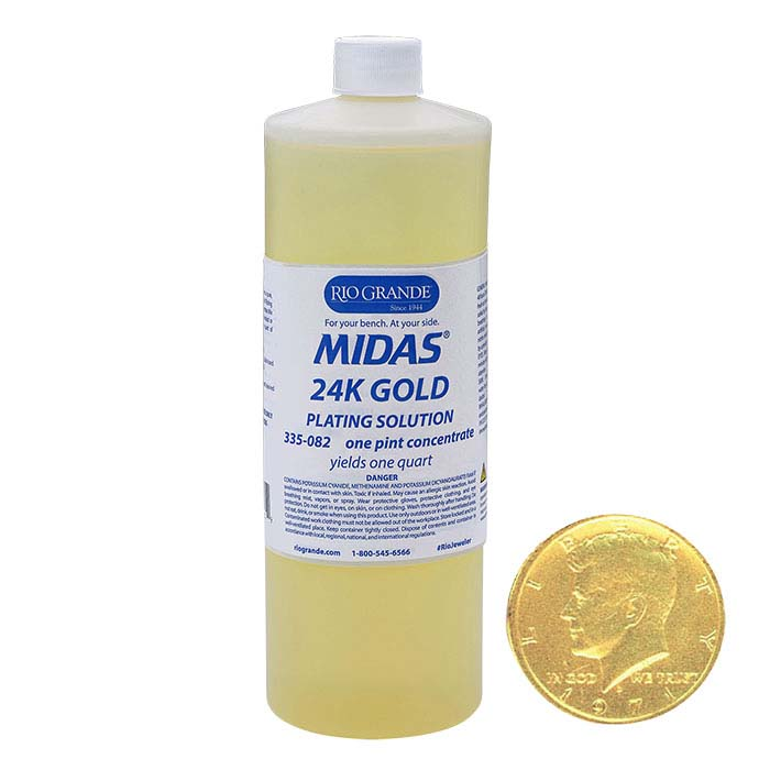 Midas 24K Gold Plating Solution Concentrate, Cyanide-Based