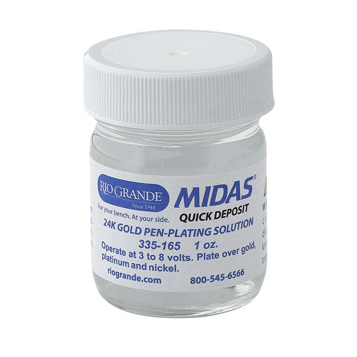 Midas 24K Yellow Gold Quick-Deposit Pen-Plating Solution, Acid-Based