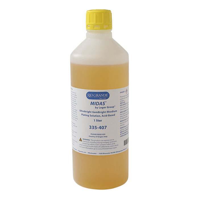 MIDAS® Ultrabright GemBright Rhodium Plating Solution, Acid-Based
