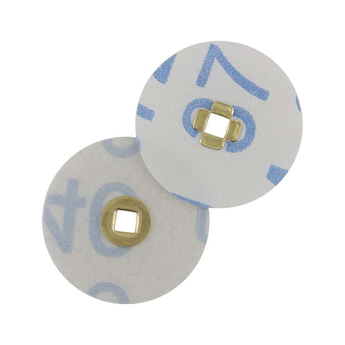 E.C. Moore Magnum Brass-Center Snap-On Snap-Off Plastic-Backed Aluminum Oxide Sanding Discs