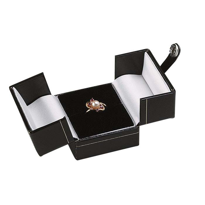 Faux Leather Snap-Tab Ring Gift Boxes