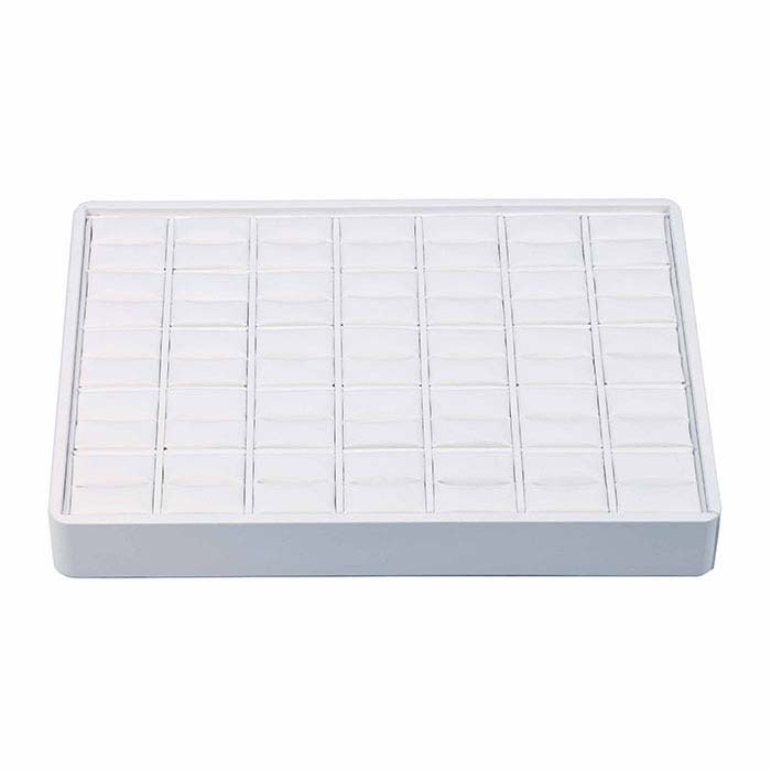 White Faux Leather Stackable 35-Ring Tray
