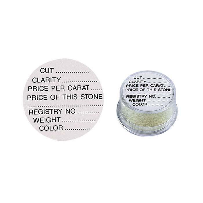 White Printed Adhesive Round Gem Jar Label