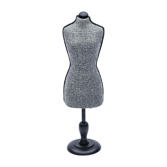 Gray & Black Plaid Fabric Mannequin Display