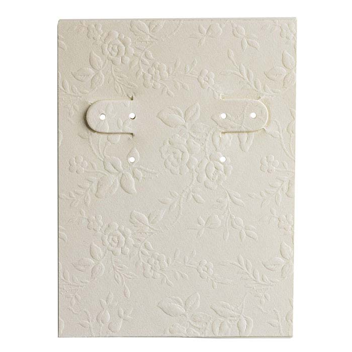 Ivory Floral-Embossed Paper-Covered Earring Card