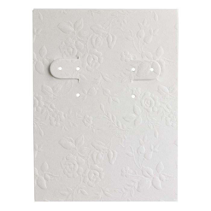 White Floral-Embossed Paper-Covered Earring Card