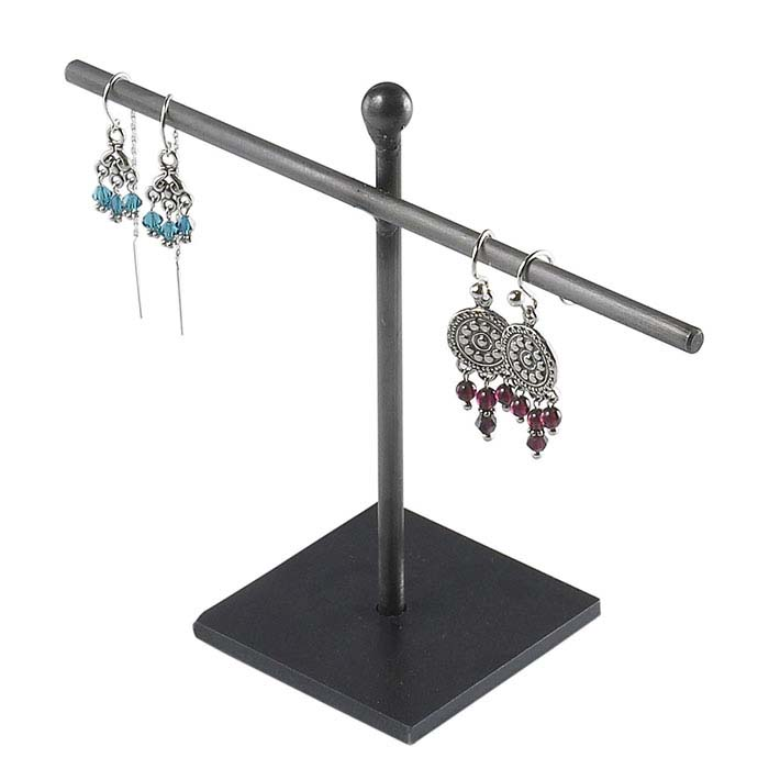 Natural-Finish Wrought Iron Stand Earring Display
