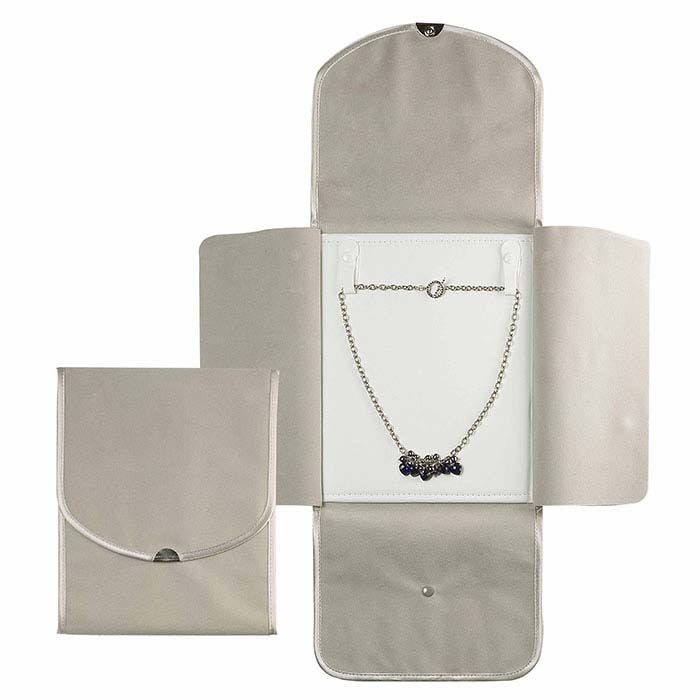 Gray Italian Faux Suede Necklace Folder