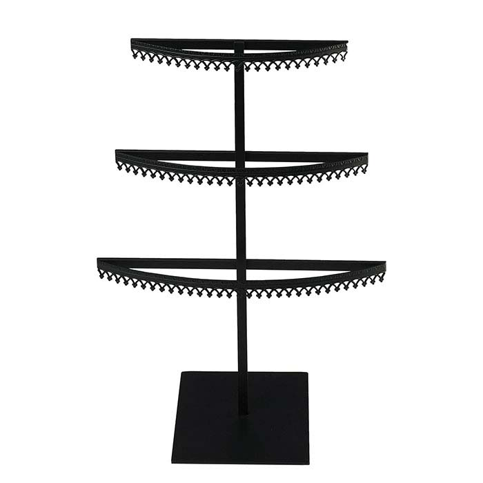 Royal Crown Black Metal Three-Tier Earring Display