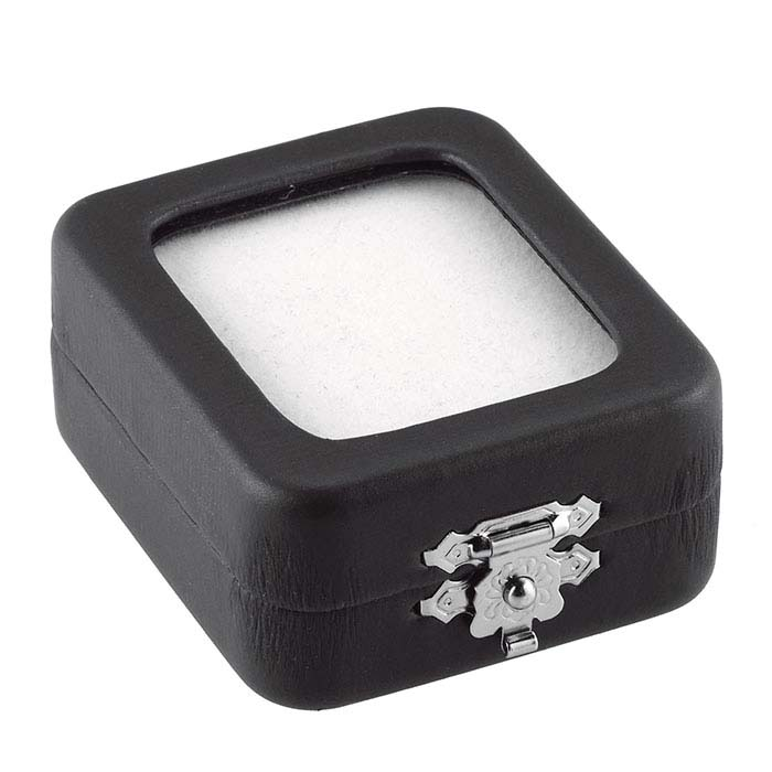 Black Faux Leather Gem Box with Glass Lid