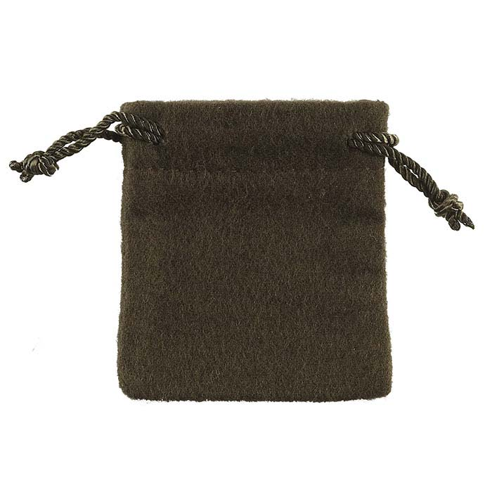 Anti-Tarnish Flannel Brown Drawstring Pouches