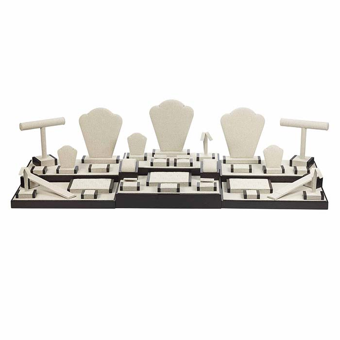Natural Linen Travel Display Collection with Walnut Trim, 35-Piece