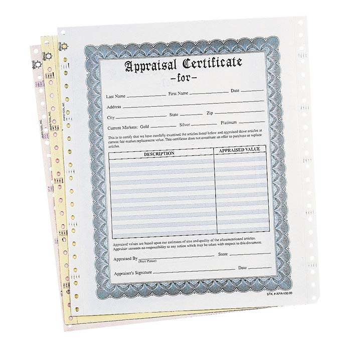 White Three-Part Jewelry Appraisal Certificate
