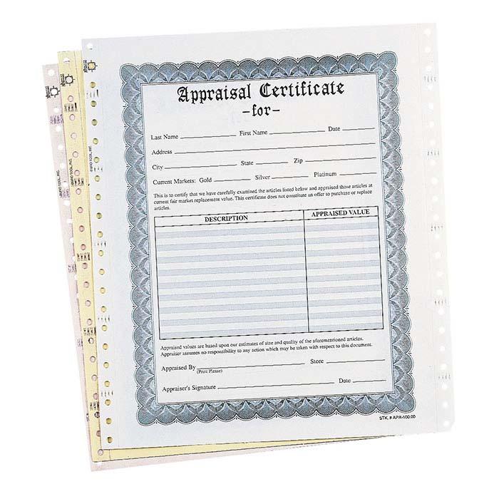 White Three-Part Jewelry Appraisal Certificate