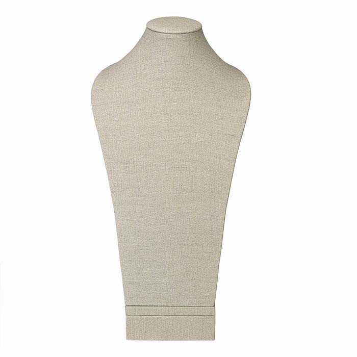 Natural Linen Tall Necklace Bust Display