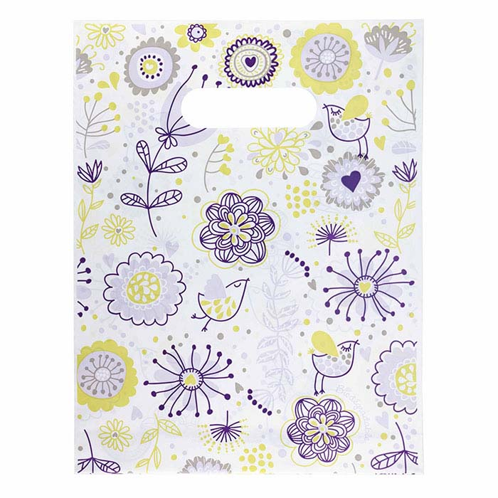 """Zinnia Collection"" Plastic Merchandise Bag, Lavender/Lime"