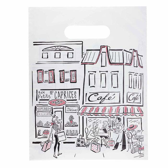 """Shopping Collection"" Plastic Merchandise Bag, Black/White"