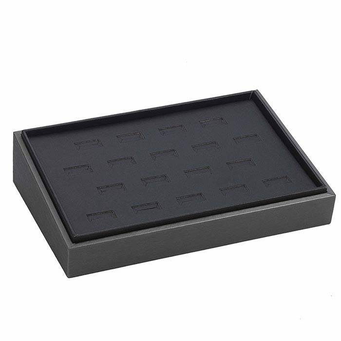 Steel and Black Faux Leather Stackable 18-Ring Tray