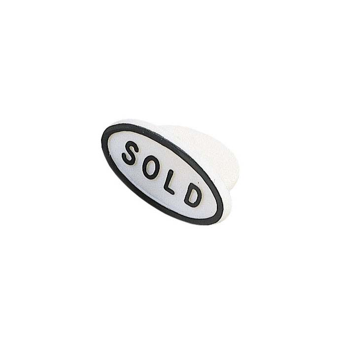 "White Plastic Oval ""Sold"" Plug"