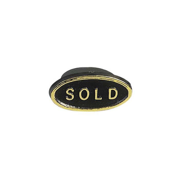 """Black Plastic Oval """"Sold"""" Plug"""