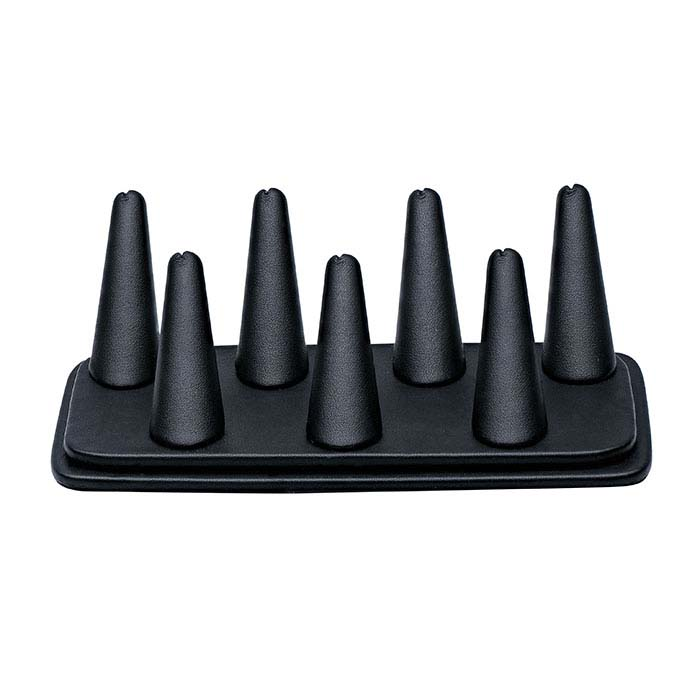 Black Vienna Faux Leather Pretty Fingers™ Seven-Ring Display