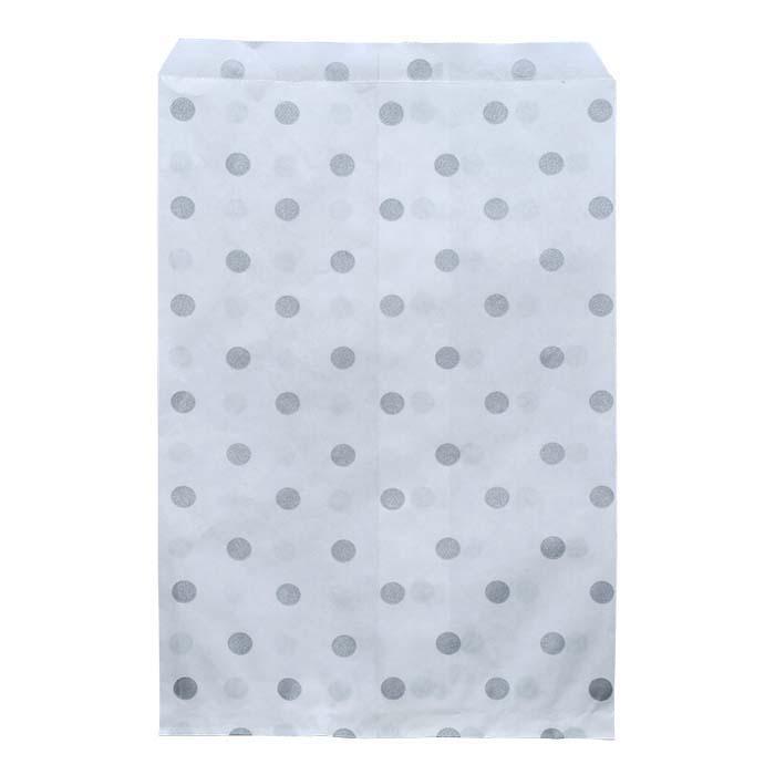 """Silver Dots Print Paper 6""""W x 9""""H Merchandise Bag"""