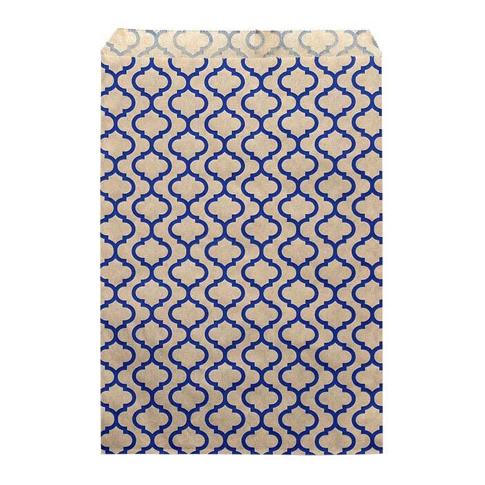 "Blue Trellis Print Paper 6""W x 9""H Merchandise Bag"