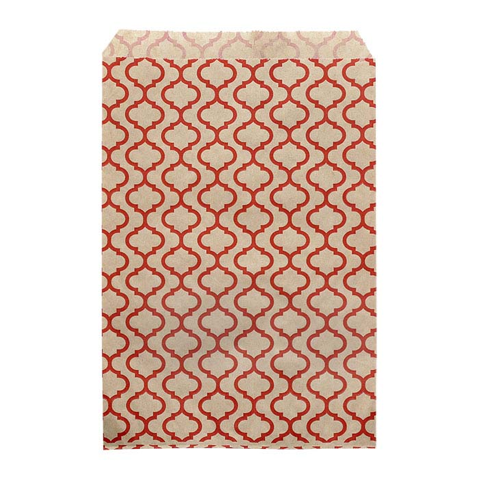 "Red Trellis Print Paper 6""W x 9""H Merchandise Bag"