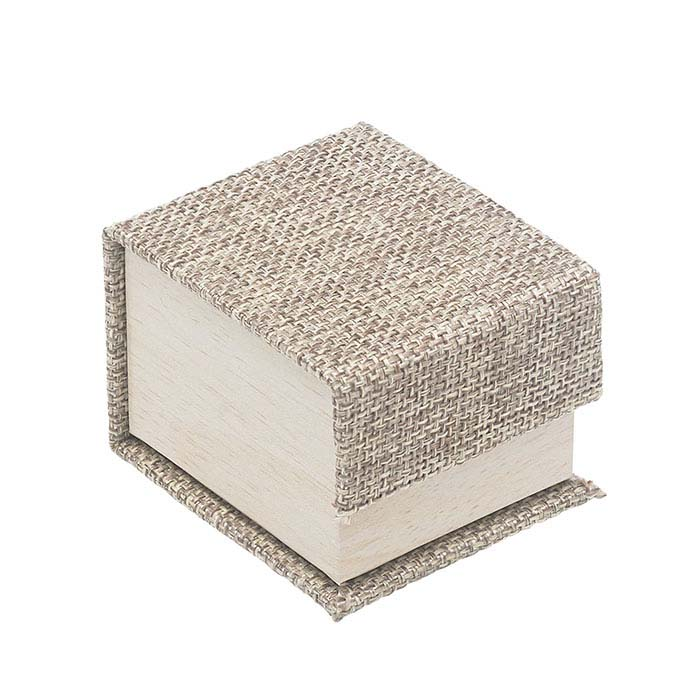 Cabana Burlap and Wood Patterned Ring Gift Box