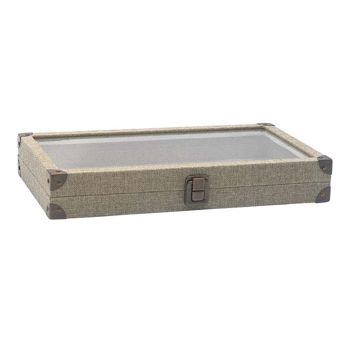 Burlap Full-Size Tray with View-Top Lid