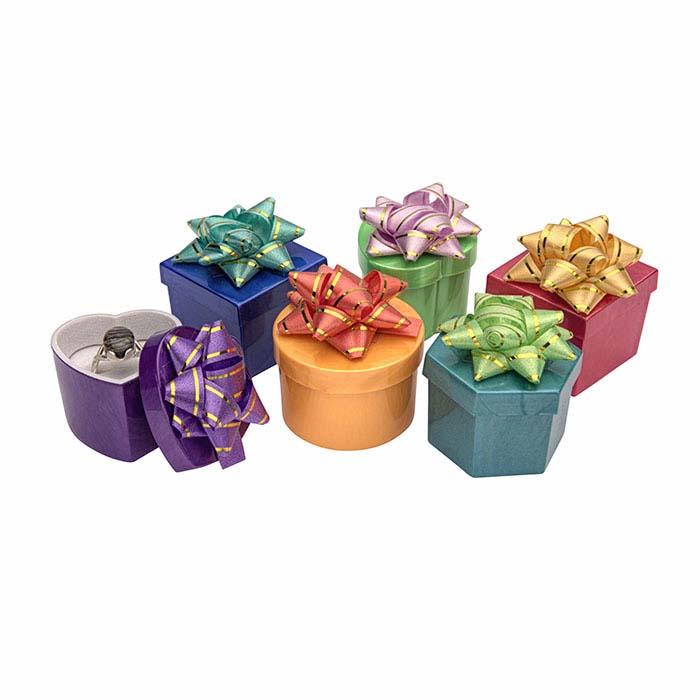 Solid-Color Mini Hat-Box Ring Box Assortment