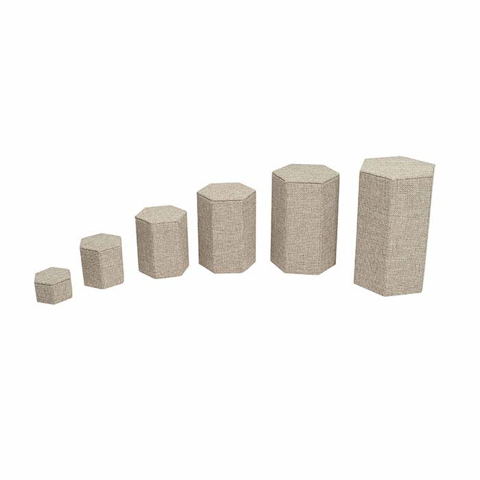 Burlap Hexagonal Nesting Block Riser Display Set