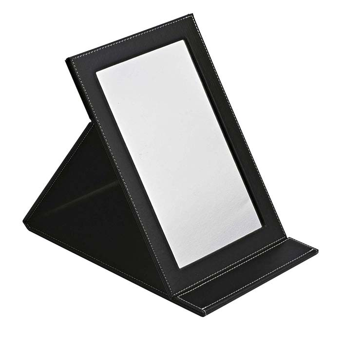Black Faux Leather-Covered Folding Mirror